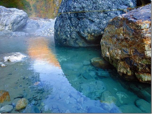 黒部渓谷トロッコ列車 鐘釣(かねつり)河原露天風呂